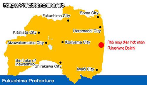 Vị trí nhà máy điện hạt nhân Fukushima Daiichi - tỉnh Fukushima Japan