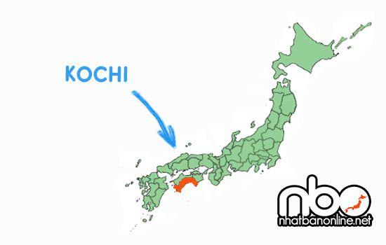 Vị trí của tỉnh Kochi Nhật Bản