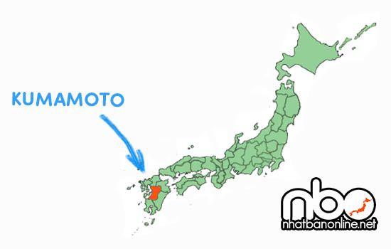 Vị trí của tỉnh Kumamoto Nhật Bản