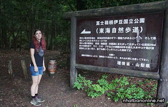 Lối vào rừng có bảng cảnh báo và khuyên bạn không nên tự tử