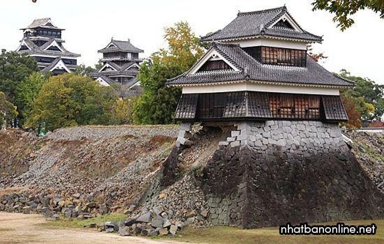 Động đất năm 2016 khiến thành Kumamoto bị hư hại