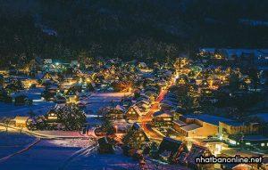Làng cổ Shirakawago về đêm