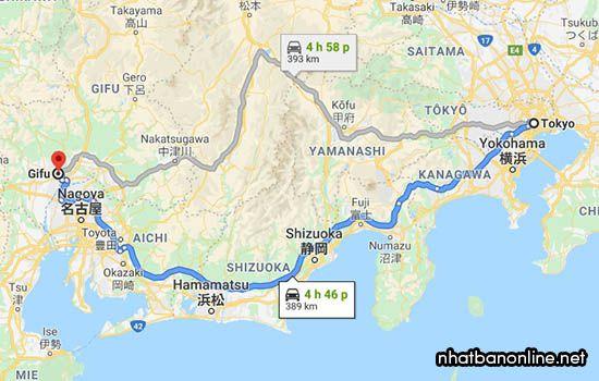 Tỉnh Gifu Nhật Bản cách Tokyo bao xa