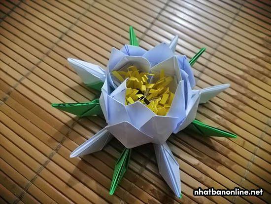 Vẫn làm tương tự như các bước trên cho đến cả các cánh hoa màu xanh.